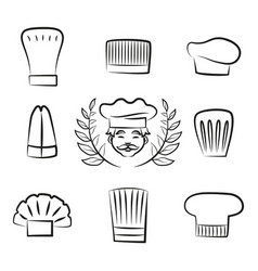 set of chef hats with cook man in white headwear vector image