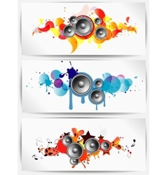 Set of musical grunge backgrounds with subwoofer vector image