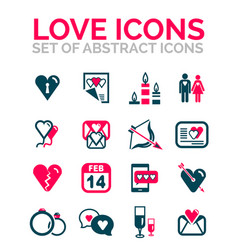 Set of valentine day or love icons vector