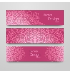 Set of vintage banners with ethnic background vector
