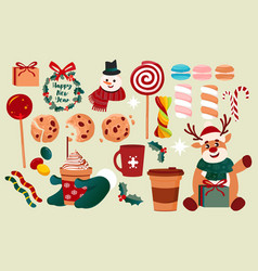 Set of winter coffee and sweets vector