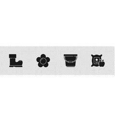 Set waterproof rubber boot flower bucket vector