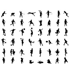 Silhouettes children playing vector