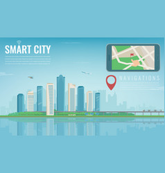 Smart city navigation smart phone with city vector