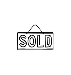 sold sign hand drawn outline doodle icon vector image
