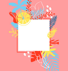 summer greeting card template with tropical leaves vector image