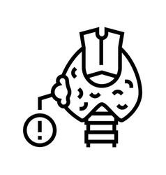 Thyroid cancer line icon vector