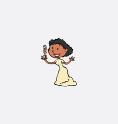 toasting bride happy isolated character vector image
