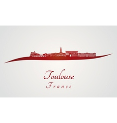 Toulouse skyline in red vector image