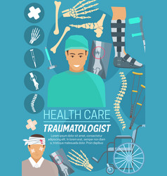 traumatologist doctor bones and joints vector image