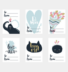 valentines day set of six postcards in vector image