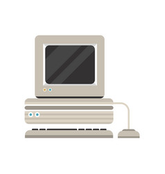 vintage personal computer with keyboard vector image