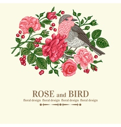 vintage wedding card with bird vector image