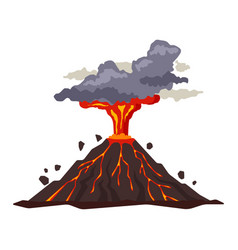 volcano eruption with magma smoke ashes isolated vector image