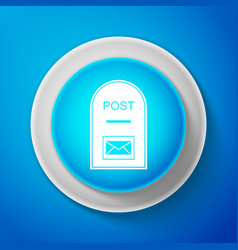 white post box on blue background mail box sign vector image