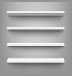 white shelves for product display mockup vector image