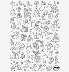 winter holidays - doodle set pencil drawings vector image