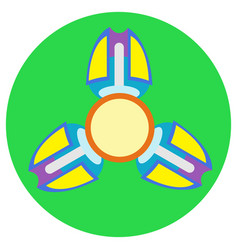 yellow with purple spinner with three blades vector image