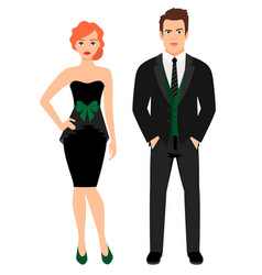 Young couple in black fashion outfit vector