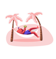 young man relax in hammock with coconut in hands vector image