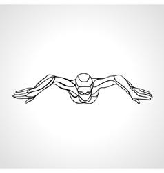 Breaststroke Swimmer Female Outline Silhouette vector image vector image