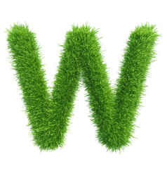 capital letter w from grass on white vector image