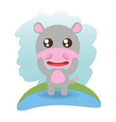 cute hippopotamus animal wildlife vector image