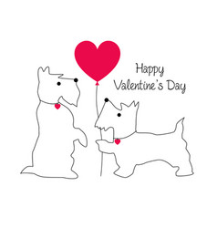 cute scottie dog valentine with balloon vector image