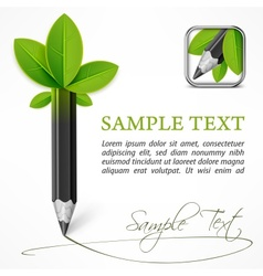 Ecology concept - pencil with vector image vector image