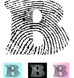Fingerprint alphabet letter b vector