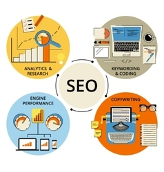 Infographic flat concept of SEO vector image vector image
