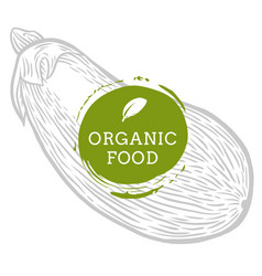label eggplant fresh natural eco food hand drawn vector image vector image
