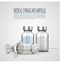 medical syringe and ampoule objects on white vector image vector image