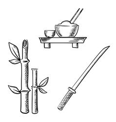 Rice sake bamboo and samurai katana vector image vector image