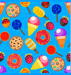 Seamless pattern with candy donuts cookies vector