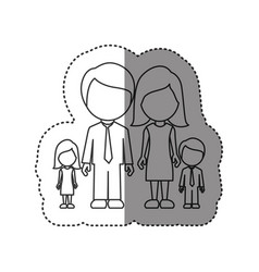 sticker of monochrome contour of faceless family vector image vector image