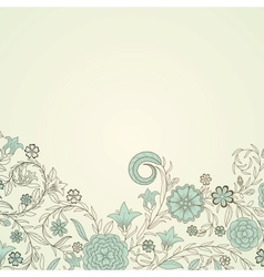 Vintage background with doodle flowers vector image vector image