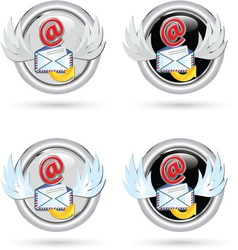 BLACK AND WHITE MAIL ICON vector image