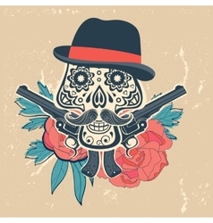 Hand drawn skull with guns and flowers in vintage vector image