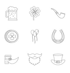 happy st patricks day icon set outline style vector image