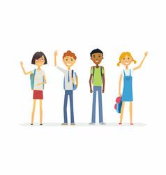 happy standing schoolchildren with backpacks - vector image
