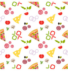 pattern with pizza and ingredients for pizza vector image