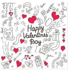 valentines day hand drawn doodle card vector image
