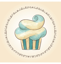 watercolor waved cupcake vector image vector image