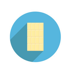 White chocolate bar round icon long shadow tasty vector