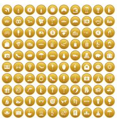 100 honeymoon icons set gold vector