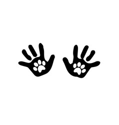 black silhouette of baby hand prints with animal vector image