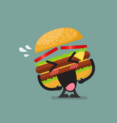 burger character laughing vector image vector image