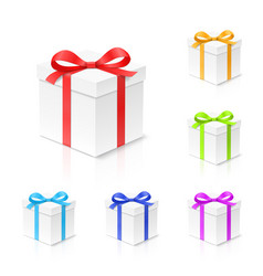 gift box set with red gold blue green and vector image