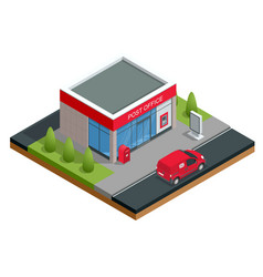 isometric building of post office and post car vector image vector image
